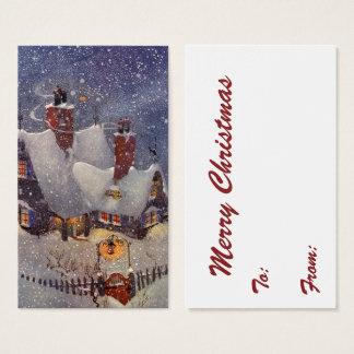Natal vintage, Pólo Norte da oficina de Papai Noel Cartão De Visitas