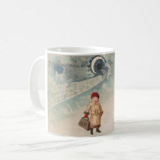 Natal vintage que tira a estação de comboio do caneca de café