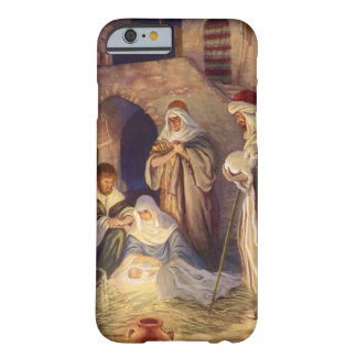Natal vintage, três pastores e bebê Jesus Capa Barely There Para iPhone 6