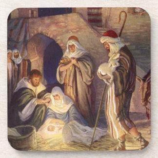 Natal vintage, três pastores e bebê Jesus Porta-copos
