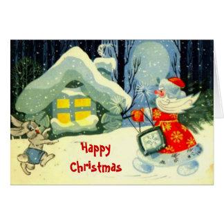 Natal vintage, visita da meia-noite cartão comemorativo