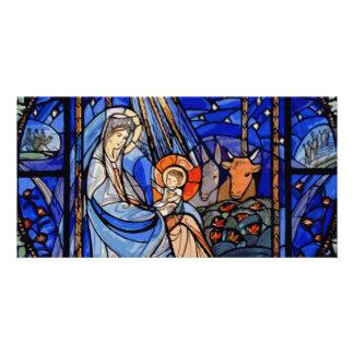 Natividade do estilo do vitral cartão com foto