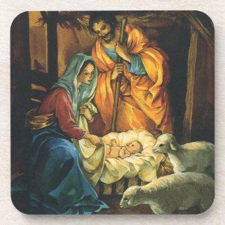 Natividade do natal vintage, bebê Jesus no Porta-copo