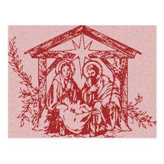 Natividade vermelha cartão postal