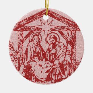 Natividade vermelha ornamento de cerâmica redondo