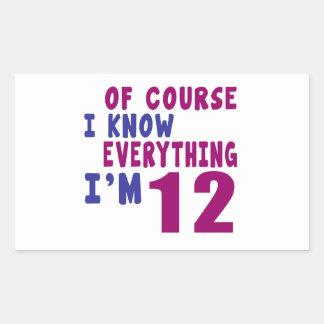 Naturalmente eu sei que tudo eu sou 12 adesivo retangular