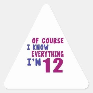 Naturalmente eu sei que tudo eu sou 12 adesivo triangular