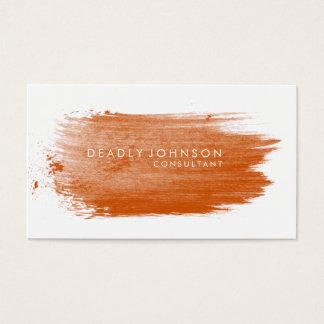 Natureza simples elegante da laranja do Splatter Cartão De Visitas