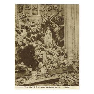 Naufrágio dentro de uma igreja bombardeada, Somme, Cartão Postal