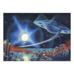 Nave espacial azul da ficção científica do vintage convite personalizados