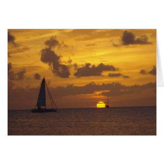 Navigação no por do sol cartão comemorativo