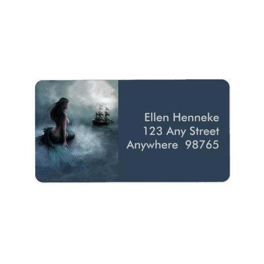 Navio da sereia e de pirata etiqueta de endereço