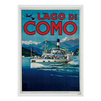 Navio de Como Italia do lago vintage Travel Pôster