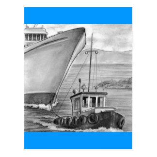 Navio de cruzeiros do reboque do barco do reboque cartão postal