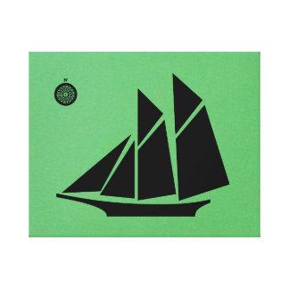 Navio no preto impressão de canvas esticadas