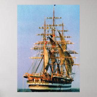 "Navios históricos do vintage,   ""Amerigo Vesspucci Poster"