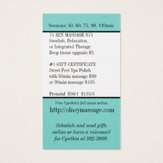 negócio azul do cartão da massagem e do contato