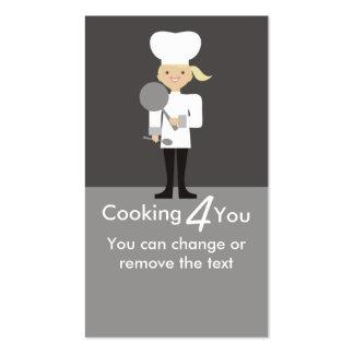 negócio bonito do cozinhar da colher da frigideira cartoes de visita