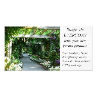 Negócio da estrutura do jardim do design da paisag cartão com foto