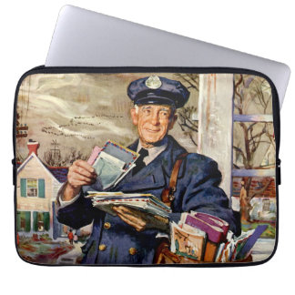 Negócio do vintage, carteiro que entrega letras do capa para computador