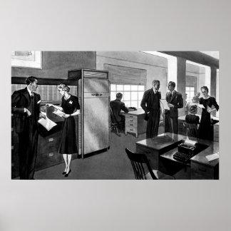 Negócio do vintage, executivos em um escritório poster