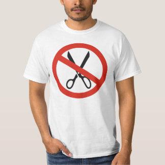 Nenhuma tesoura dos cortes para em volta do sinal t-shirt