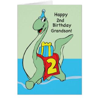 Neto, dinossauro do segundo aniversário cartão comemorativo