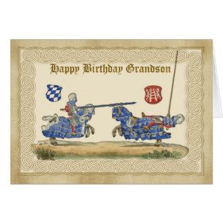 Neto do aniversário, cavaleiros que Jousting, Cartão Comemorativo