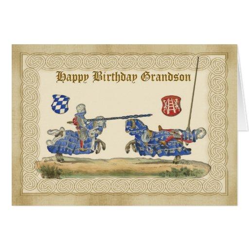 Neto do aniversário, cavaleiros que Jousting, chei Cartao