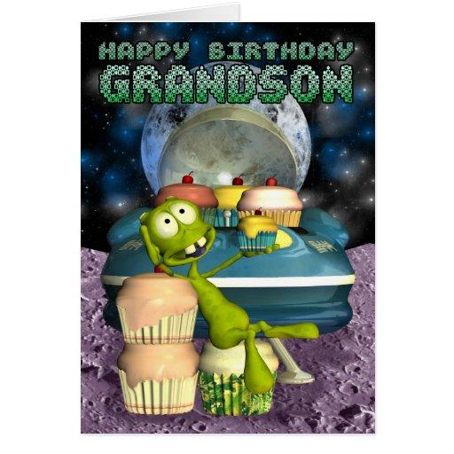 Neto do feliz aniversario, fora deste mundo, alien cartões