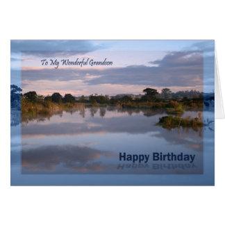 Neto, lago no cartão de aniversário do alvorecer