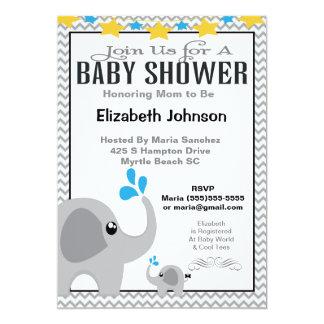 Neutral Mom & Baby Elephant Baby Shower Invitation Convite 12.7 X 17.78cm