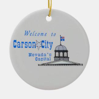NEVADA Carson City Ornamento De Cerâmica Redondo