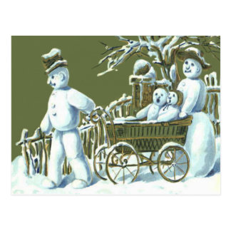 Neve do Stroll da caminhada da família do boneco Cartão Postal