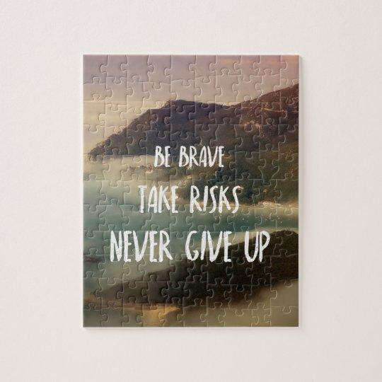 Never give up quebra-cabeça