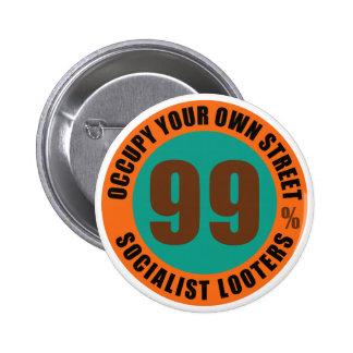 Ninety saqueadores do socialista de nove por cento botons