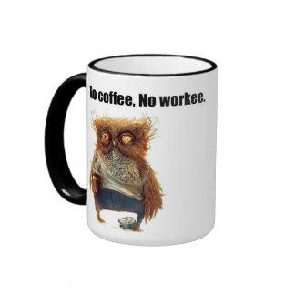 No coffee, No workee Caneca Com Contorno