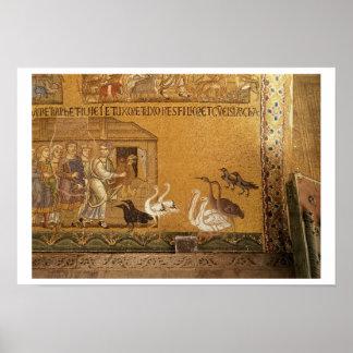 Noah que toma os animais na arca, mosaico no th impressão
