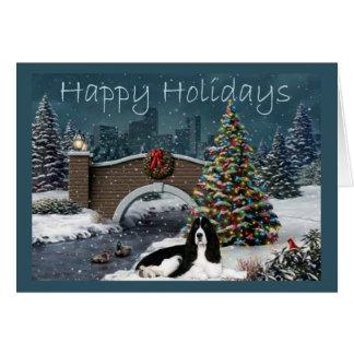 Noite do cartão de Natal do Spaniel de Springer