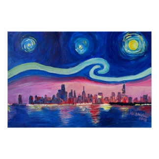 Noite estrelado em Chicago Illinois com lago Pôster
