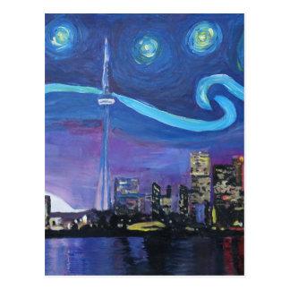 Noite estrelado em Toronto com inspirações de Van Cartão Postal