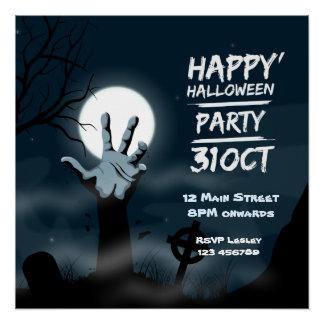 Noite inoperante o Dia das Bruxas dos zombis da Poster Perfeito