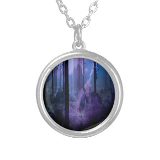 Noite místico colar banhado a prata