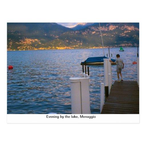 Noite pelo lago, Menaggio, lago Como Cartão Postal