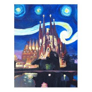 Noites estrelados em Sagrada Familia em Barcelona Cartão Postal