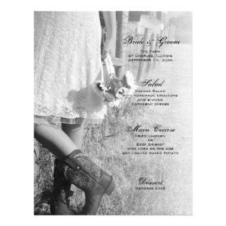 Noiva, botas e menu do casamento do país dos flyer 21.59 x 27.94cm