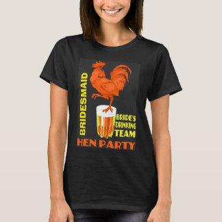noiva da equipe, partido de galinha t-shirt