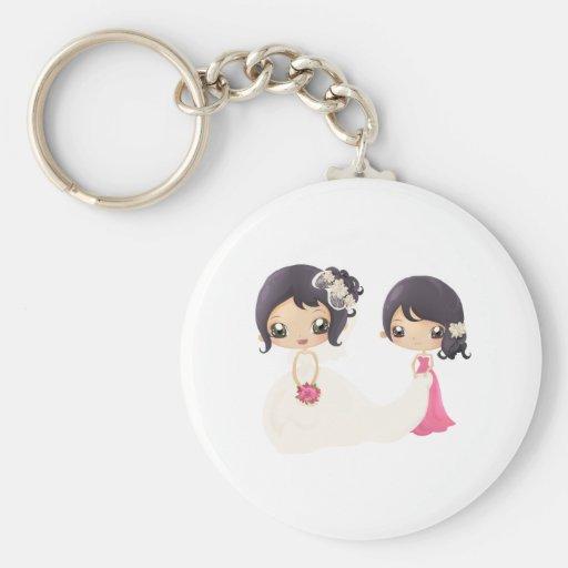 Noiva e madrinha de casamento chaveiro