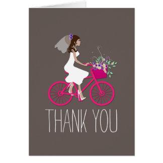 Noiva em cartões de agradecimentos do chá de