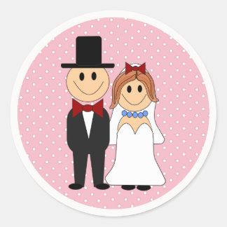 Noiva & noivo que Wedding etiquetas cor-de-rosa